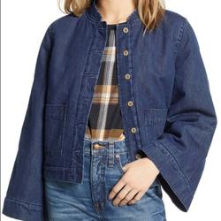 Madewell Jackets & Coats | Madewell Nwt Reversible Sherpa Cropped Jean Jacket | Color: Blue | Size: S