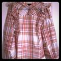 Anthropologie Tops | Nwt Current Air For Anthro Plaid Ruffled Blouse 1x | Color: Cream/Pink | Size: 1x