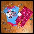 Disney Matching Sets | Disney Minnie Mouse Outfit Nwt | Color: black | Size: 3-6mb