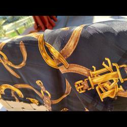 Ralph Lauren Accessories   Ralph Lauren Pure Silk Scarf   Color: Black/Gold   Size: 42 Square