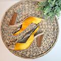 J. Crew Shoes | J. Crew Collection Yellow Satin Heels Slingback 9 | Color: Brown/Yellow | Size: 9