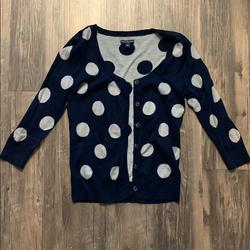American Eagle Outfitters Sweaters   Navy And Gray Polka Dot Cardigan With Buttons   Color: Blue/Gray   Size: M