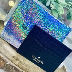 Kate Spade Bags | Kate Spade Lola Glitter Cardholder Gift Box Set | Color: Black/Gold | Size: Os