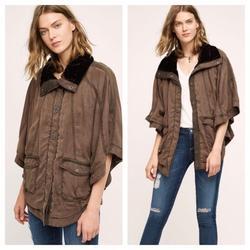 Anthropologie Jackets & Coats | Hei Hei Tondra Velvet Collar Poncho Jacket Sz Xss | Color: Brown | Size: Xs