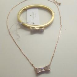 Kate Spade Jewelry   Kate Spade New Gold Pave Bow Necklace And Bracelet   Color: Gold/Silver   Size: 16 Necklace; 2-14 Bracelet