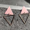 Urban Outfitters Jewelry   Gold Pink Geometric Triangle Earrings   Color: Gold/Pink   Size: Os