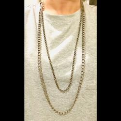 American Eagle Outfitters Jewelry | American Eagle Double Matte Silver Necklace | Color: Gray | Size: Os