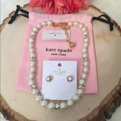 Kate Spade Jewelry | Kate Spade Lady Marmalade Studs & Necklace | Color: Gold/White | Size: Pearl Necklace 16+ 4 Ext