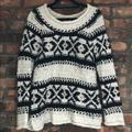 Free People Sweaters | Free People Fair Isle Off The Shoulder Sweater, S | Color: Black/White | Size: S