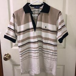 Polo By Ralph Lauren Shirts | Ralph Lauren Polo Shirt T Shirt Button Up | Color: Black/Cream | Size: L
