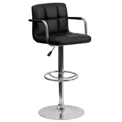 Flash Furniture Quilted Adjustable Height Bar Stool, Black