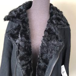 Free People Jackets & Coats   New Free Prople Faux Fur Trim Slouchy Jacket Nwt   Color: Black   Size: Xs