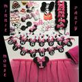 Disney Party Supplies | Disney Minnie Mouse 1st Birthday Party Decoration | Color: Black/Pink | Size: Os