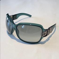 Gucci Accessories | Gucci Womens Green Silver Buckle Sunglasses | Color: Green/Silver | Size: Os