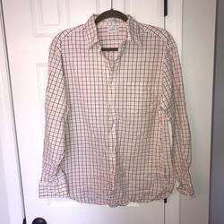 J. Crew Shirts | J. Crew Shirt Plaid Checks 80s 2 Ply Button Up Ls | Color: Red/White | Size: M 15 - 15 12