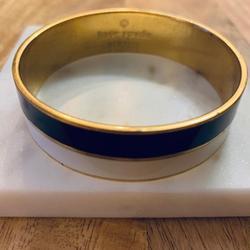 Kate Spade Jewelry | Kate Spade Black & White Enamel Bangle | Color: Black/Gold/White | Size: 3 Diameter