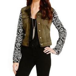 Jessica Simpson Jackets & Coats   Jessica Simpson Tribal Aztec Denim Jean Jacket S   Color: Black/Brown   Size: S