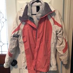 The North Face Jackets & Coats | North Face Two Piece Fleece Shell Jacket | Color: Cream/Pink/White | Size: Girls Xl- Fits Just Like North Face Womens Small