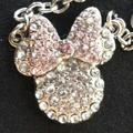 Disney Jewelry | Disney Minnie Mouse Necklace 18 Pave Jewels Pink | Color: Pink/White | Size: 18