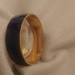 J. Crew Jewelry | J Crew Navy Blue Gold Bangle Stamp Vintage Bracele | Color: Blue/Gold | Size: Os