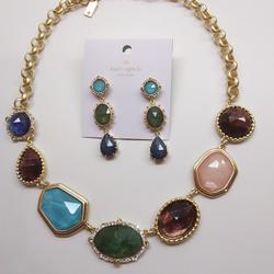 Kate Spade Jewelry | Kate Spade New Stone Necklace And Earrings | Color: Blue/Green | Size: 17 X 1 Necklace; 12 X 2 Er