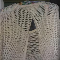 Torrid Tops   Cropped Crochet Flyaway Back Sweater 00 Torrid   Color: Cream   Size: 00 Or Women'S Size 10