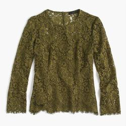 J. Crew Tops   J Crew Ls Lace Top W Built-In Cami, Moss Green   Color: Green   Size: 2