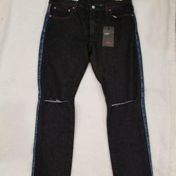 Levi's Jeans   Levis Men 40 X 35 Lo-Ball Stack Logo Ripped Jeans   Color: Black/Blue   Size: 40