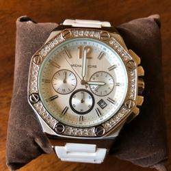 Michael Kors Accessories | Michael Kors Mk-5563 Watch | Color: Silver/White | Size: Os