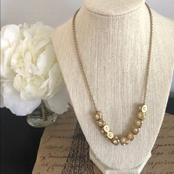 J. Crew Jewelry | J. Crew Gold Bead Necklace | Color: Gold | Size: 18 Inches