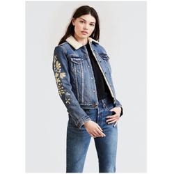 Levi's Jackets & Coats | Levis Fleece Trucker Jacket With Gold Embroidery | Color: Blue | Size: M