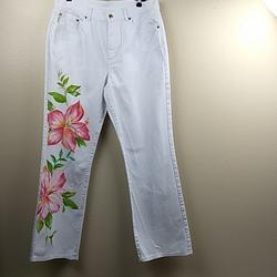 Ralph Lauren Jeans | Ralph Lauren Jeans White Flowered Jeans Size 12 | Color: Pink/White | Size: 12