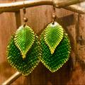 Free People Jewelry | Free People Leaf Hugger Earrings | Color: Gold/Green | Size: Os