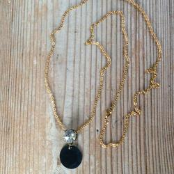 Anthropologie Jewelry | New Rhinestone Pendant Necklace Anthropologie Bag | Color: Black/Gold/Gray | Size: Necklace 26 L