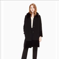 Kate Spade Jackets & Coats   Kate Spade Faux Fur Collar Velvet Trim Coat   Color: Black   Size: 0