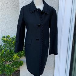 Kate Spade Jackets & Coats | Kate Spde Floral Lace Trim Black Coat Size 00 | Color: Black | Size: 00