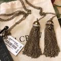 J. Crew Jewelry | Jcrew Statement Tied Knot Tassel Necklace New | Color: Gold | Size: 17 Chain Long And Two 2.5 Tassel Pendants