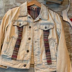 Free People Jackets & Coats | Free People Acid Wash Denim Jacket, Baja, Boho | Color: Red | Size: Xs
