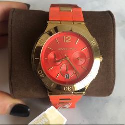 Michael Kors Accessories   Michael Kors Wyatt Orange Dial Quartz Watch   Color: Orange   Size: Os