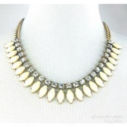 J. Crew Jewelry | J. Crew Statement Necklace Whitecrystal | Color: Gold/White | Size: Necklace Drop: 9 12