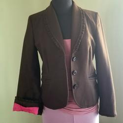 J. Crew Jackets & Coats | J Crew Wool Blend, Silk Lined Ruffle Trim Jacket | Color: Brown | Size: 10 (Refer To Photos For Measurements)