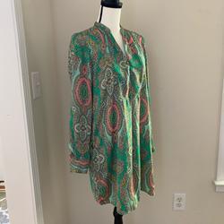 Zara Dresses   Cute Zara Paisley Printed Green Silky Dress A Sz S   Color: Green/Tan   Size: S