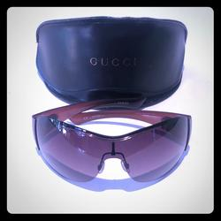 Gucci Accessories | Gucci Womens Shield Sunglasses Brown Pink | Color: Brown/Pink | Size: Os