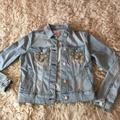 Lularoe Jackets & Coats | Lularoe Pale Denim Jean Jacket With Embroidery, Xs | Color: Blue | Size: Xs