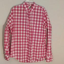 J. Crew Shirts | J Crew Classic Long Sleeve Shirt 100% Cotton | Color: Red/White | Size: L
