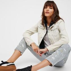 Free People Jackets & Coats | Free People Double Weave Denim Jacket Hoodie Distr | Color: Black/White | Size: Xs