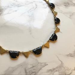 Madewell Jewelry | Mdwl Geo Gem Bib Necklace | Color: Black/Gold | Size: Os