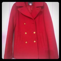 J. Crew Jackets & Coats   J.Crew Classic Cherry Red Pea Coat Sz 4 Tall   Color: Red   Size: 4 Tall