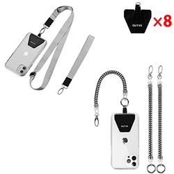 OUTXE Universal Phone Lanyard - 8× Durable Pads, 1× Adjustable Neck Strap, 1× Wrist Strap, 2× Phone Tether, Compatible with iPhone, Samsung Galaxy and All Smartphones