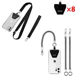 OUTXE Universal Phone Lanyard - 8× Durable Pads, 1× Adjustable Neck Strap, 1× Wrist Strap and 2× Phone Tether, Compatible with iPhone, Samsung Galaxy and All Smartphones